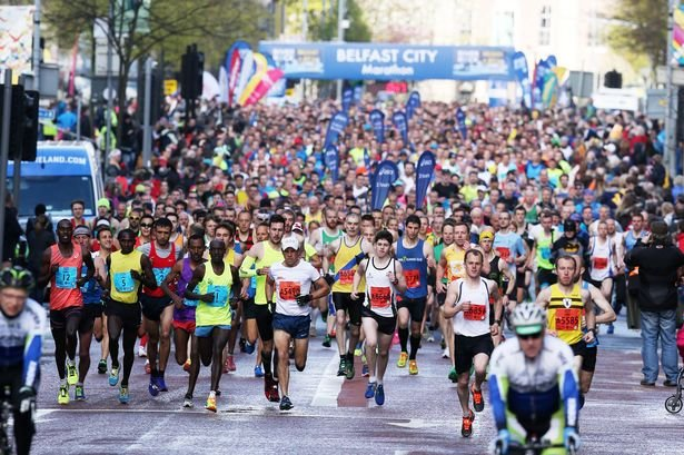 Image of runners taking part in the Belfast City Marathon