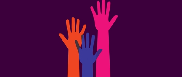 image of three hands in the air (coloured in blue, orange and pink)