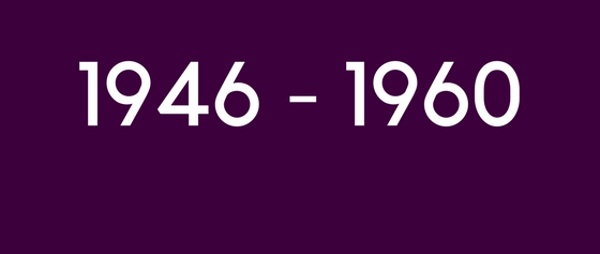 shows text 1946 to 1960 on purple background