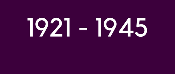 shows text 1921 to 1945 on purple background