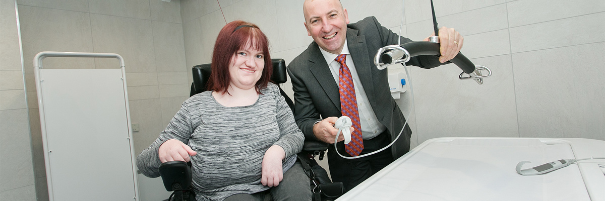 Michaela Hollywood pictured with Paul McMahon at the opening of Castlecourts changing places toilet