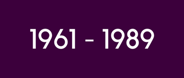 shows text 1961 to 1989 on purple backrground
