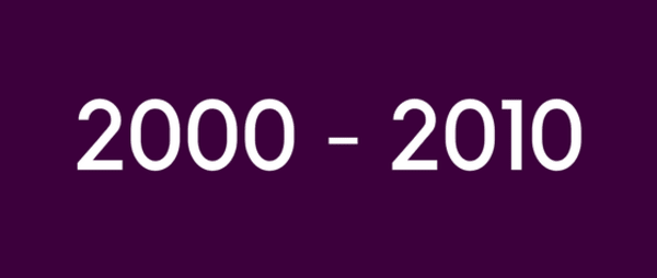 shows text 2000 to 2010 on purple background.