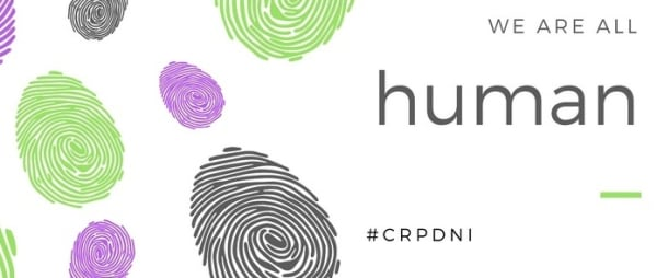 picture shows finger prints in three colours and the words we are all humans.  #crpdni
